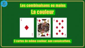Combinaison couleur poker 3 cartes Agadir