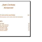 Menu restaurant Jean Cocteau Agadir